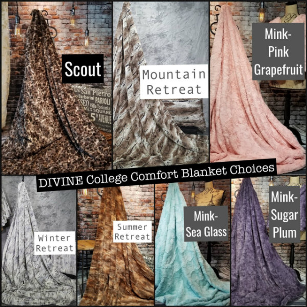 Here are the current Choices: Scout  Mink Collection: Pink Grapefruit, Sea Glass and Sugar Plum Retreat Collection: Mountain, Summer and Winter