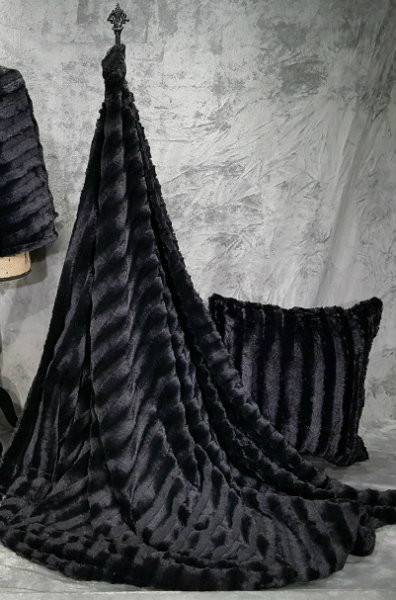 "*Sable in Black - 50""x 60"" Blanket, Divine Fabric *QS"