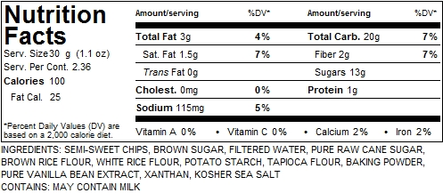 Nutritional Facts - Gluten-free vegan Chocolate Chip* Cookie *Chips may contain milk.