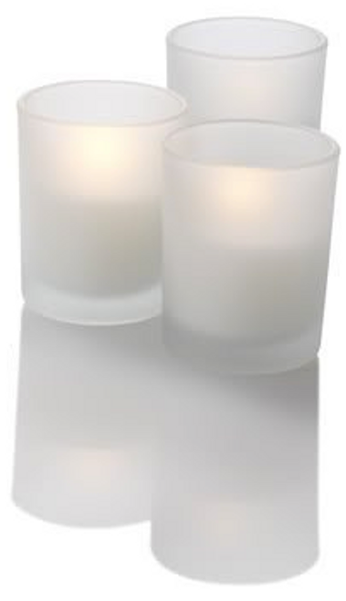 "2"" Premium LED Votive Candle in Frosted Glass Battery-Operated Flameless 72pcs/Case"