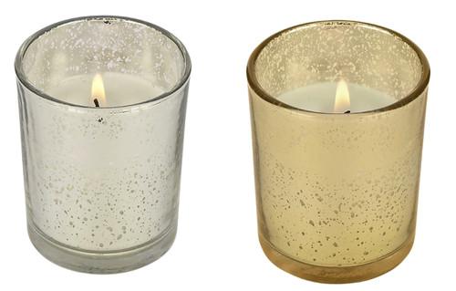 """10 Hour Mercury Glass Prefilled Votive """"Party Votive"""" Poured Votive Candles Case of 75 Filled Glass Votive Candles Bulk"""