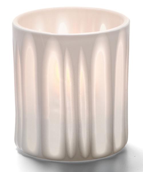 WHITE STRIPES BOUTIQUE PORCELAIN VOTIVE LAMP