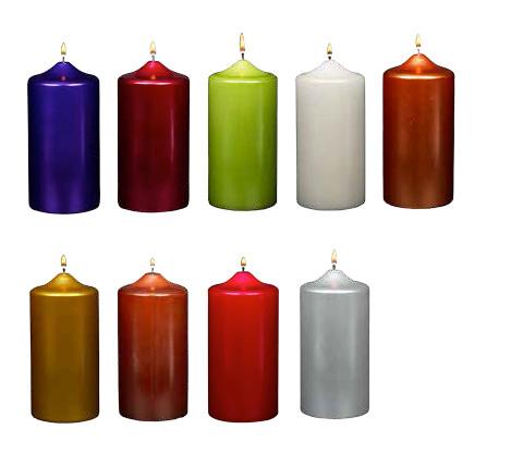 3 Quot X 6 Quot Metallic Pillar Candles Unscented Dozen