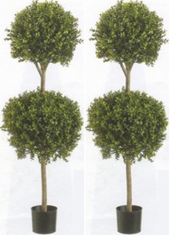 Beau Two 56 Inch Artificial Boxwood Double Ball Topiary Trees UV Rated