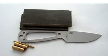 Kit comes with handle scales, brass fittings and the EnZo Necker blade in full flat grind, Stainless Steel