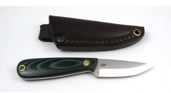 EnZo Necker Knife, Green Micarta, Scandi Grind, Leather Sheath