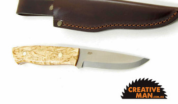 EnZo Trapper Knife, Curly Birch, Scandi Grind, 01 Carbon Steel