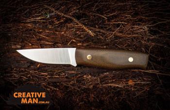 EnZo Elver Knife, Flat Grind, Green Micarta