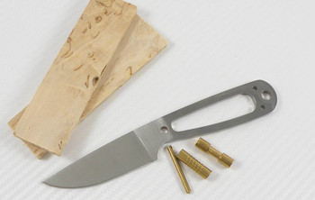 EnZo Necker Knife Kit, Curly Birch, Flat Grind