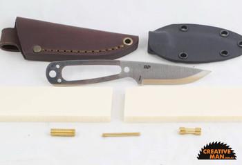 EnZo Necker Knife Kit, Scandi Grind, Ivory Linen Micarta