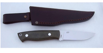 EnZo Trapper 95 Knife, Flat Grind N690Co, Green Micarta