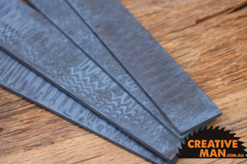 Stainless Steel LADDER Damascus Billet, 58 HRC, 250 x 35 x 4 mm