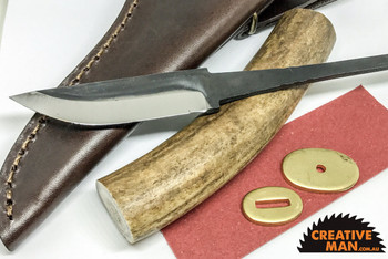 Antler and Carbon Steel Kit with Sheath (77 mm blade)