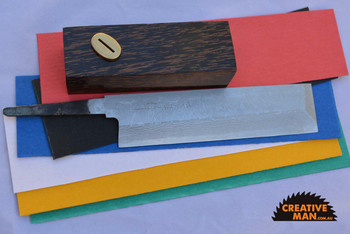 showing blade in optional kit with handle materials