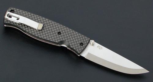 EnZo Birk 75 Folder, Scandi Grind S30V, Carbon Fiber