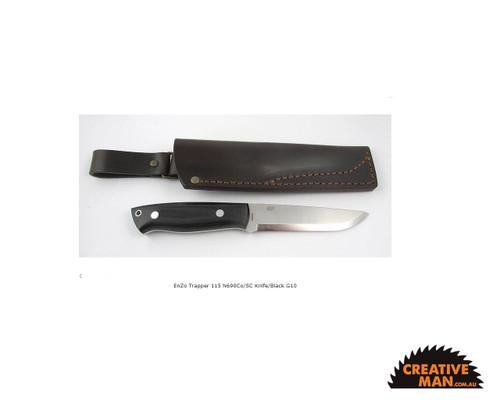 EnZo Trapper Knife 115, Scandi Grind, Black G10 (N690Co)