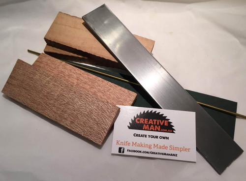 shown with optional components in the carbon steel knife making kit