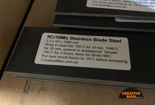 9Cr18Mo - Stainless Blade Steel 3.3 x 50 x 500 mm