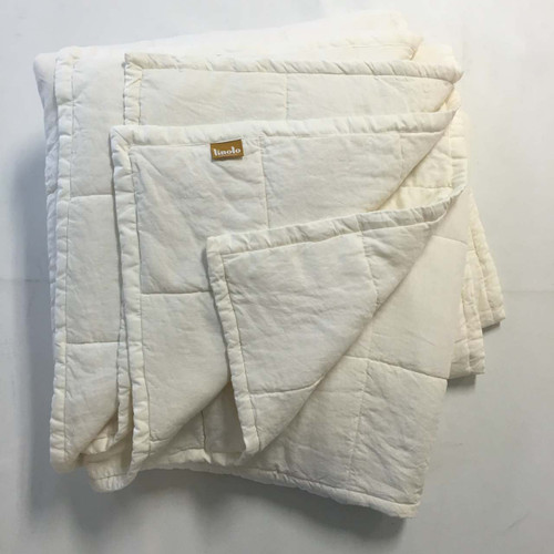 ... Organic Linen Quilted Coverlet Cream White Belgian Flax
