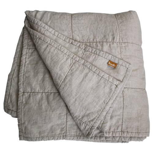 Natural Oatmeal Quilted Linen Coverlet