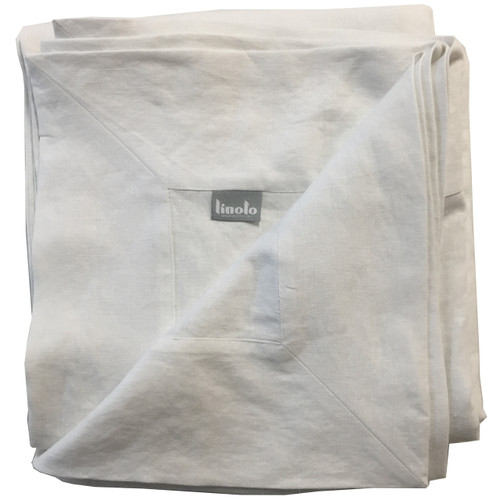 Linoto White tablecloth. Wide mitered corners. Made in USA by Linoto. 100% real linen from flax.