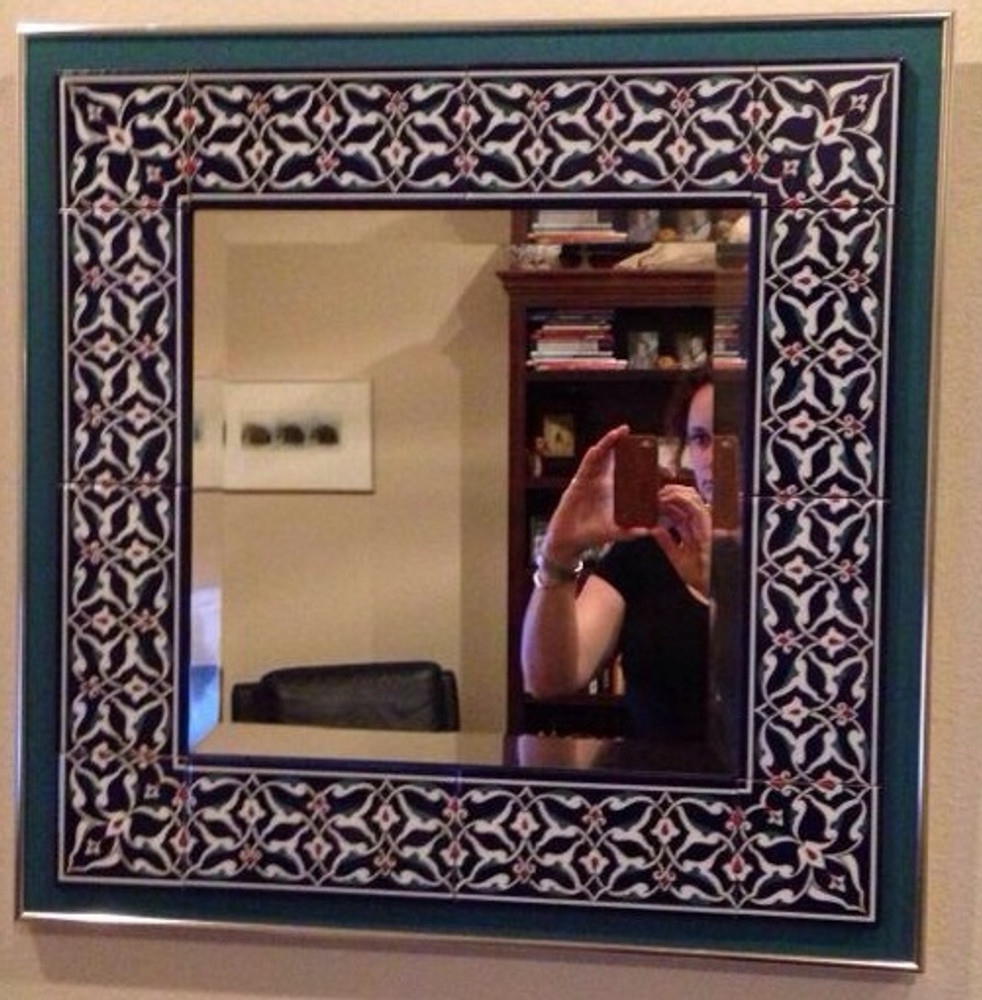 Tile used to border mirror