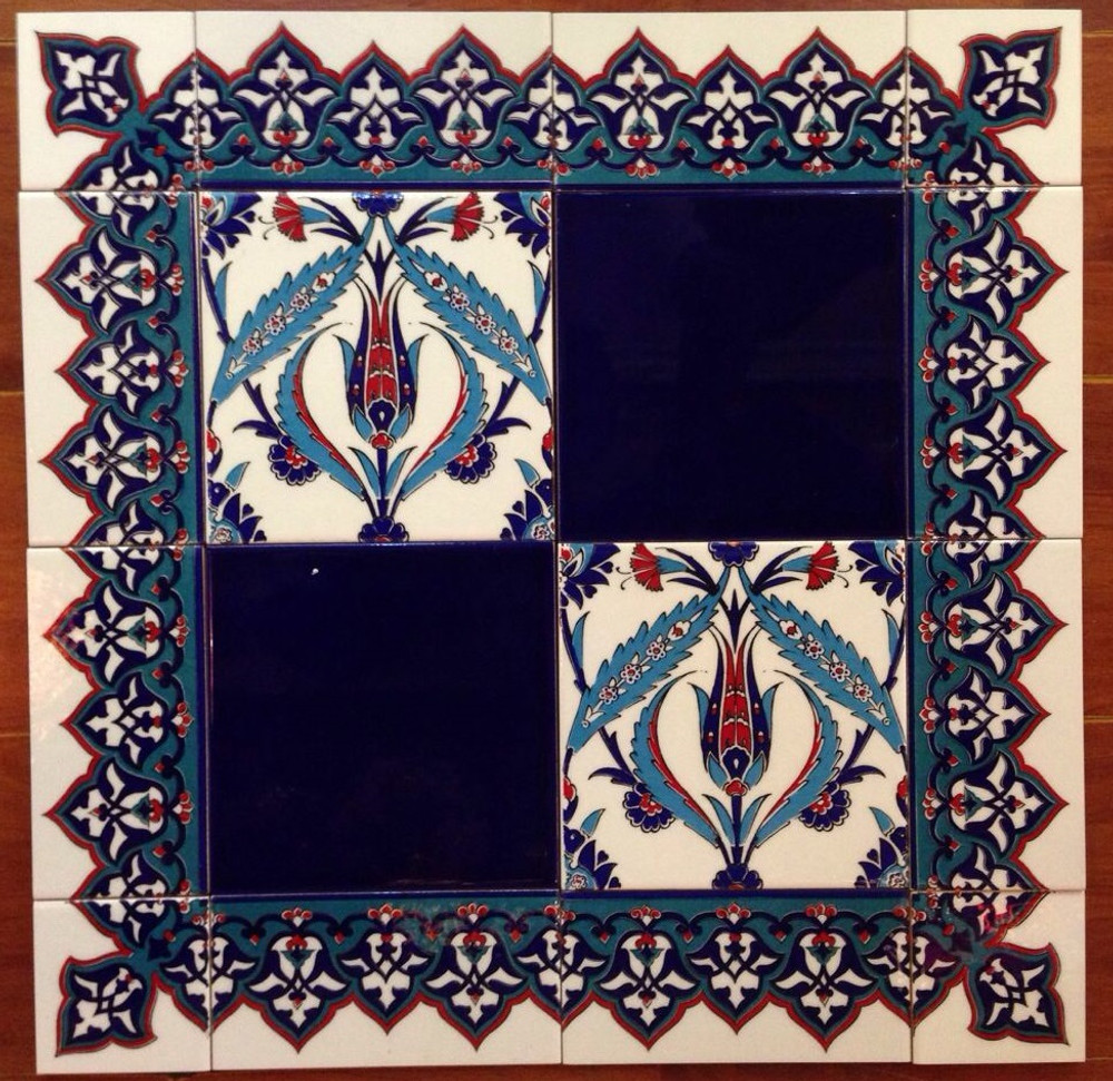 Cobalt and Tulip and Reed tile mix with Border 13