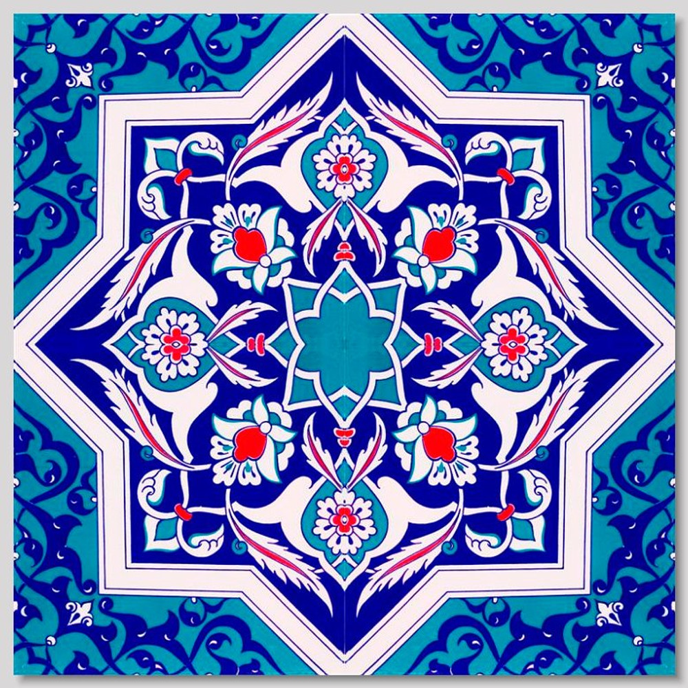 Eastern Star Continuous 4pc tile pattern  for kitchen or bathroom Pattern size: 40x40cm
