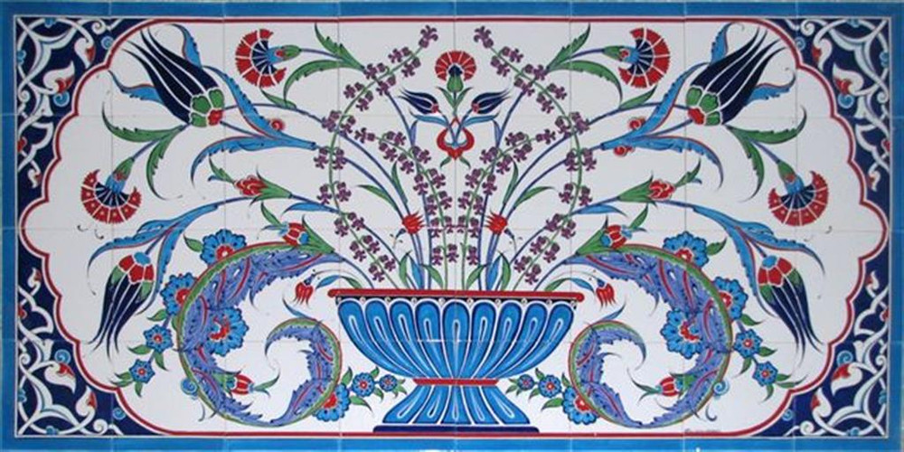 160x80cm - Flourish Ceramic Tile Mural Backsplash