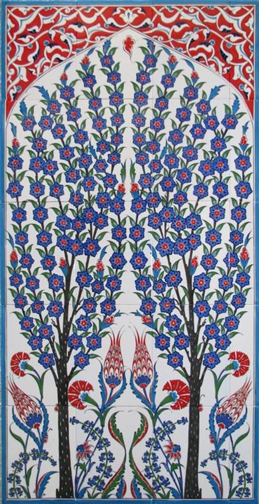 70X125cm - Double Tree Hand Painted Iznik Art Tile Mural