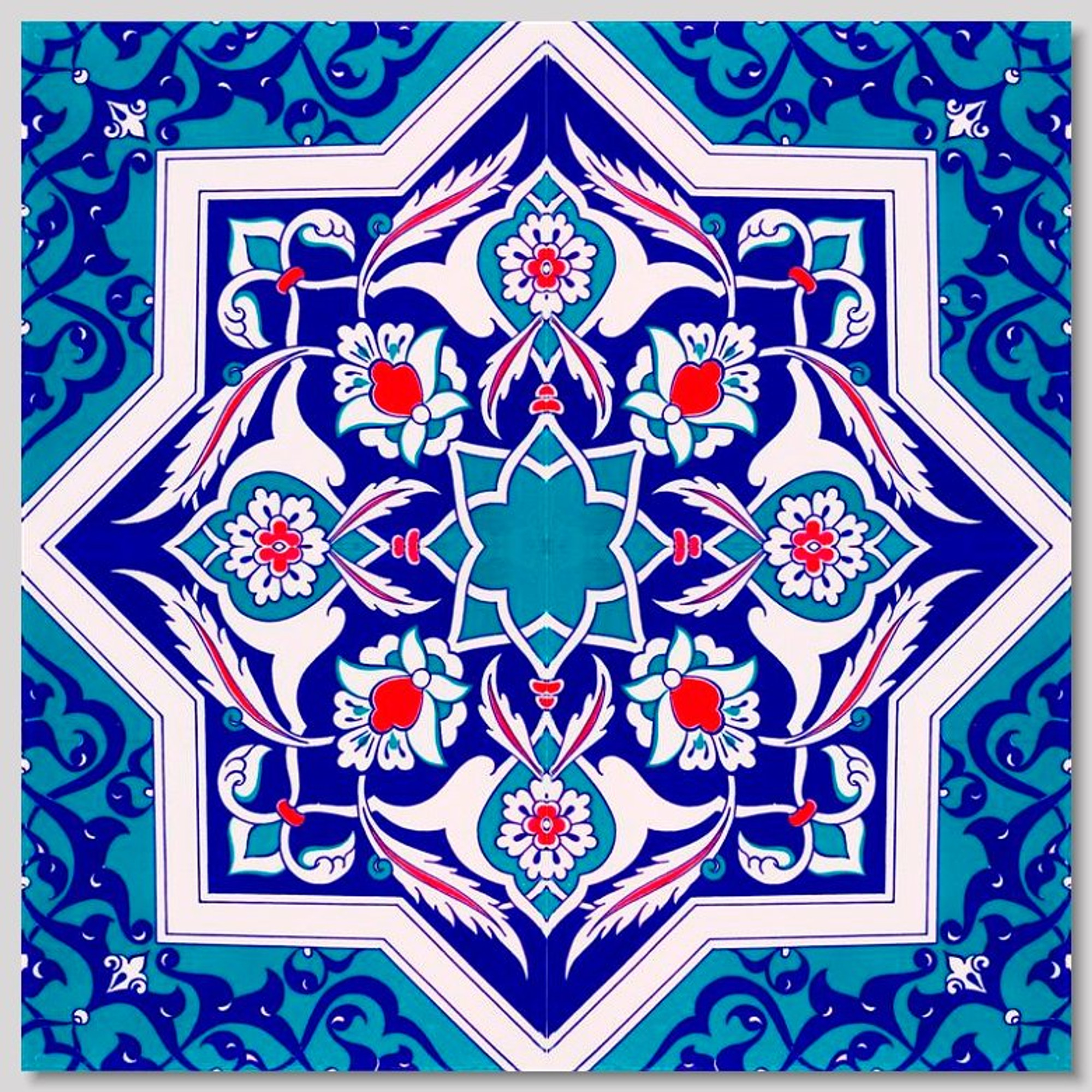 Eastern Star Continuous 4pc tile pattern for kitchen or bathroom Pattern size 40x40cm ...  sc 1 st  ShopTurkey.com : turkish wall art - www.pureclipart.com