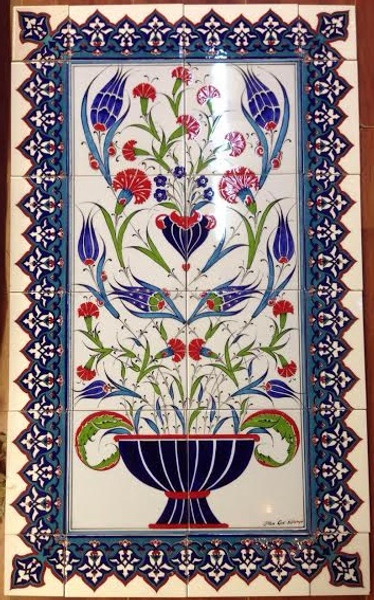 60cm x 100cm Iznik Wall Art   with 13 - Border and Corner Tiles (not included)