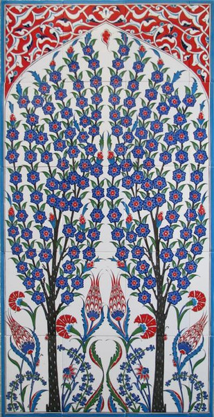 70X125cm - Double Tree Hand Painted Iznik Art Tile Mural
