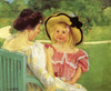 Art Prints of Simone and Her Mother in the Garden by Mary Cassatt