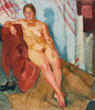 Art Prints of Model on a Red Textile by Nikolai Andreevich Tyrsa