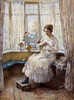 Art Prints of Lady Sewing Seated by a Window by William Kay Blacklock
