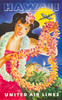 Art Prints of Hawaii United Air Lines, Hawaiin Girl with Leis, Travel Posters