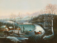 Art Prints of Stylish Couple in a Horse Drawn Sleigh, American School