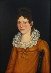 Art Prints of Young Girl in Pink Gown with Ruffled Collar, American School