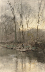 Art Prints of Forest Edge on the Water by Anton Mauve