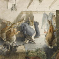 Art Prints of The Rabbit's Christmas Party, The Departure by Beatrix Potter