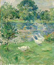 Art Prints of Girl in a Boat with Geese by Berthe Morisot