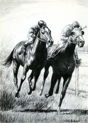 Art Prints of Bulls Eye Leading Ahead Red Badge by C.W. Anderson