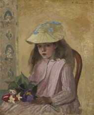 Art Prints of Jeanne Pissarro with a Bouquet by Camille Pissarro