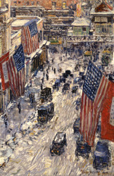 Art Prints of Flags, 57th Street by Childe Hassam