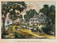 Art Prints of A Home on the Mississippi by Currier & Ives