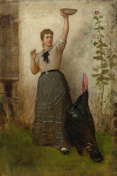 Art Prints of Feeding the Turkey by Eastman Johnson