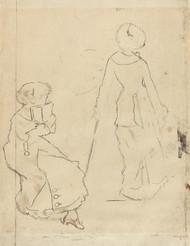 Art Prints of Study for Mary Cassatt at the Louvre II by Edgar Degas