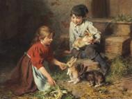 Art Prints of Feeding the Rabbits by Felix Schlesinger