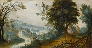 Art Prints of A Wooded River Landscape, Flemish School